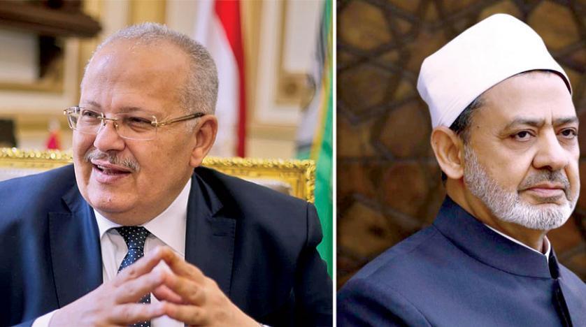 Grand imam of Al-Azhar Sheikh Ahmed El-Tayyeb (right) and President of Cairo University Mohamed Osman Elkhosht (left)